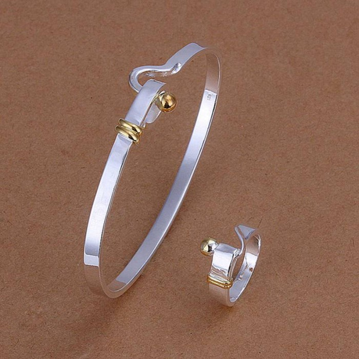SS279 Silver Gold Easy Bracelet Rings Jewelry Sets