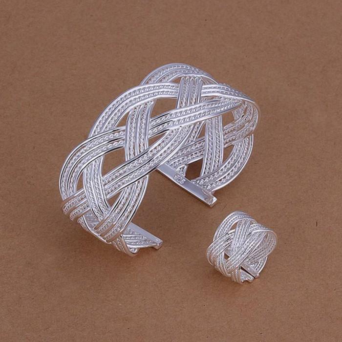 SS284 Silver Weave Cuff Bracelet Rings Jewelry Sets