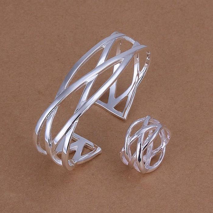 SS285 Silver Cross Bracelet Rings Jewelry Sets