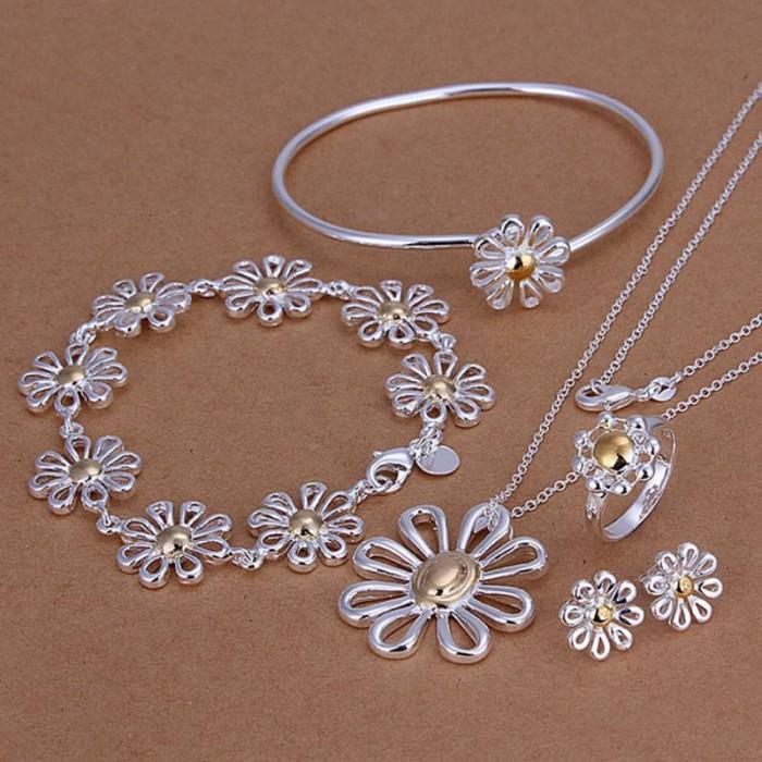 SS288 Silver Gold Mum 2Bracelet Earrings Rings Necklace Jewelry Sets