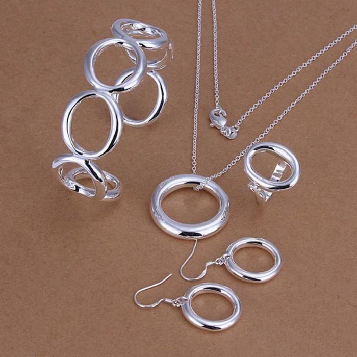 SS293 Silver O Bracelet Earrings Rings Necklace Jewelry Sets