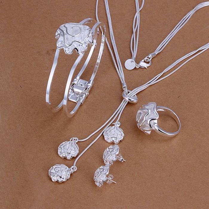 SS294 Silver Rose Bracelet Earrings Rings Necklace Jewelry Sets