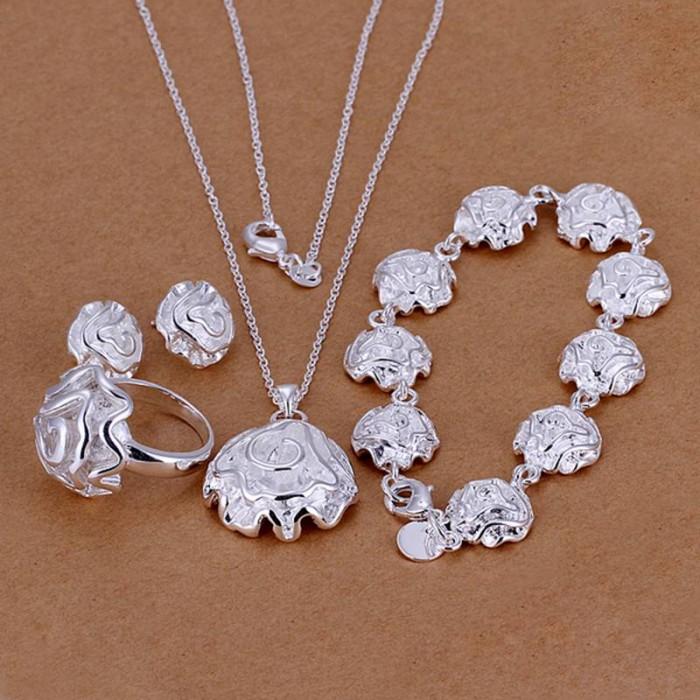 SS296 Silver Rose Bracelet Earrings Rings Necklace Jewelry Sets