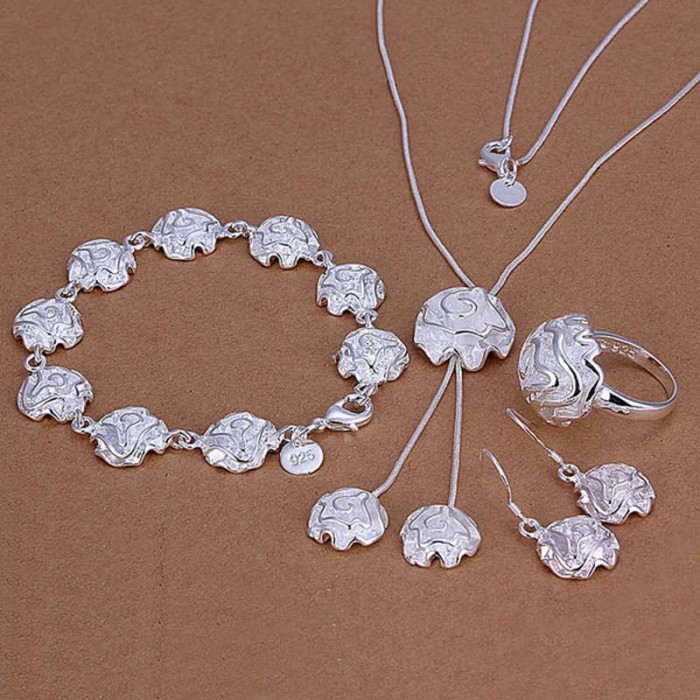 SS297 Silver Rose Bracelet Earrings Rings Necklace Jewelry Sets