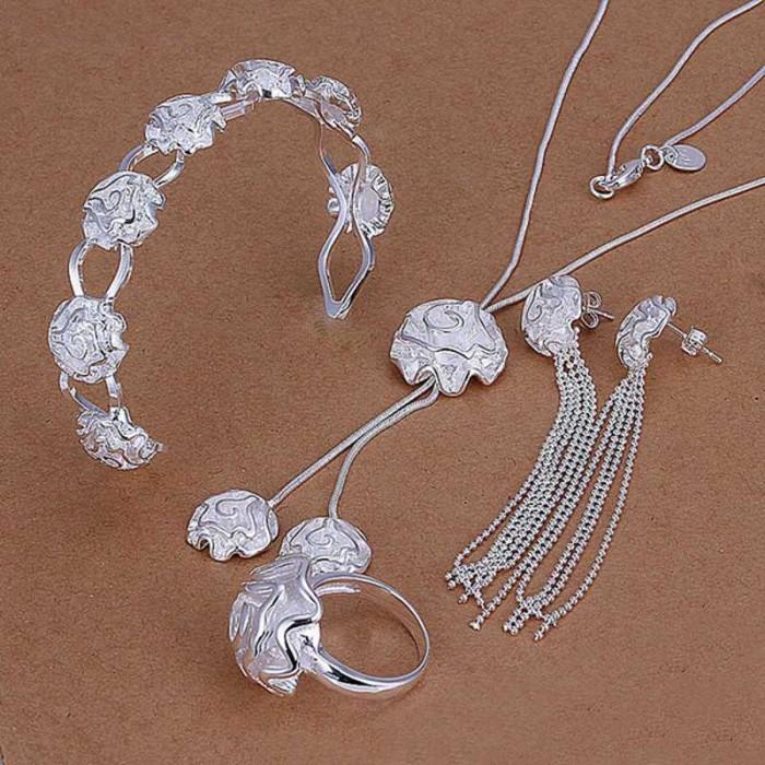 SS298 Silver Rose Bracelet Earrings Rings Necklace Jewelry Sets