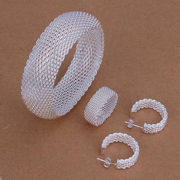 SS301 Silver Mesh Bracelet Earrings Rings Jewelry Sets