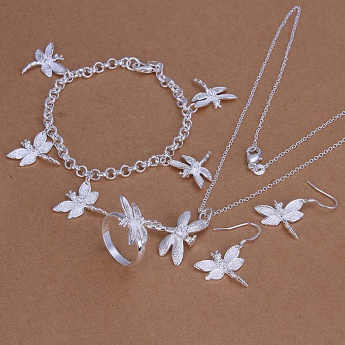 SS302 Silver Crystal Dragonfly Bracelet Earrings Rings Necklace Jewelry Sets