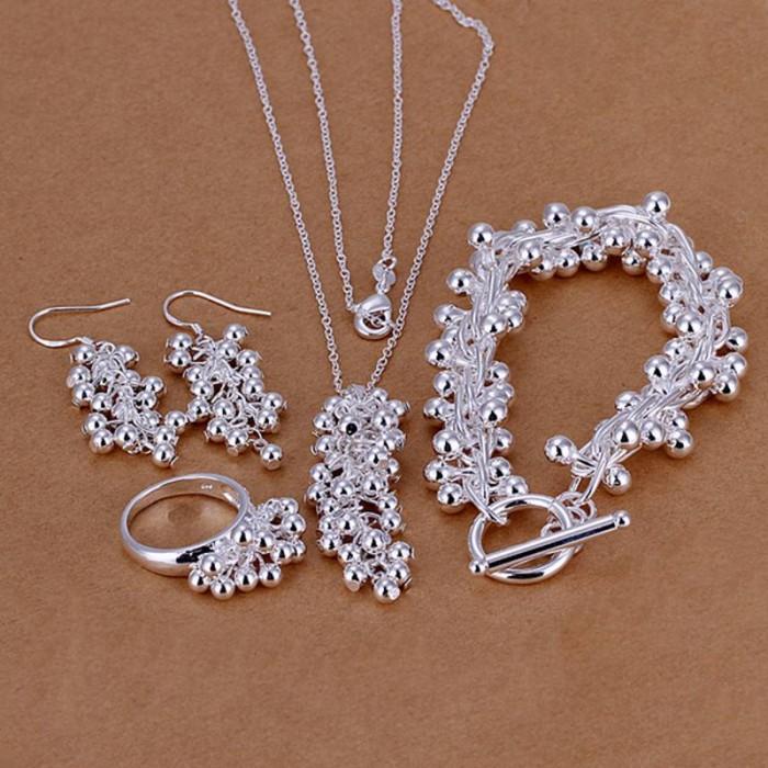 SS303 Silver Grape Bracelet Earrings Rings Necklace Jewelry Sets