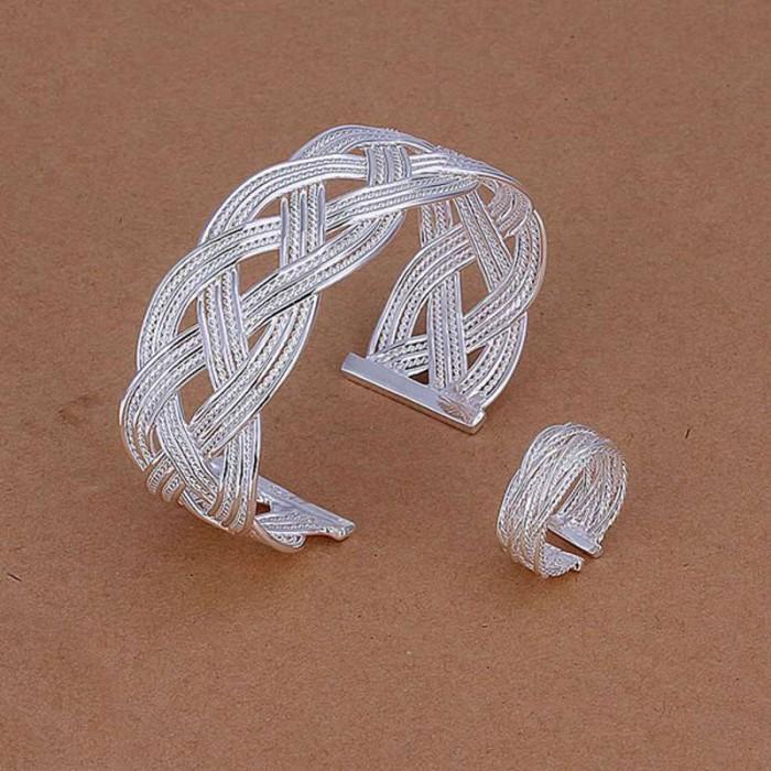 SS310 Silver Weave Bracelet Rings Jewelry Sets
