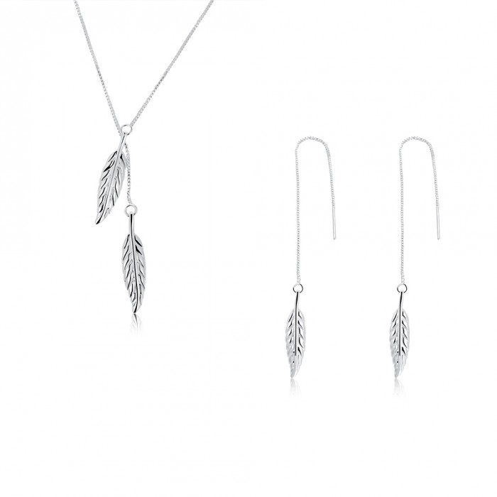 SS935 Silver Leaf Earrings Necklace Jewelry Sets