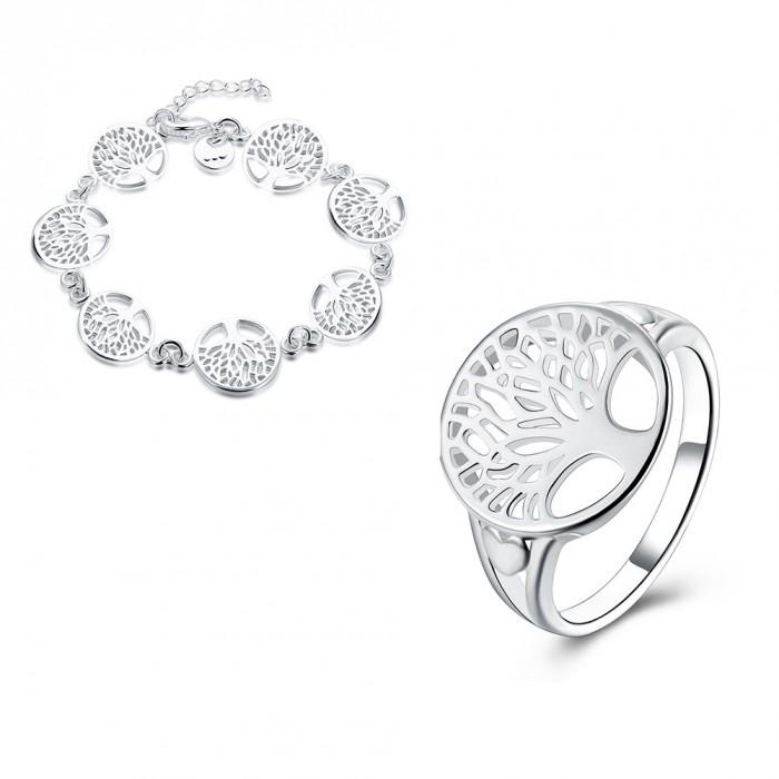 SS936 Silver Tree Bracelet Rings Jewelry Sets