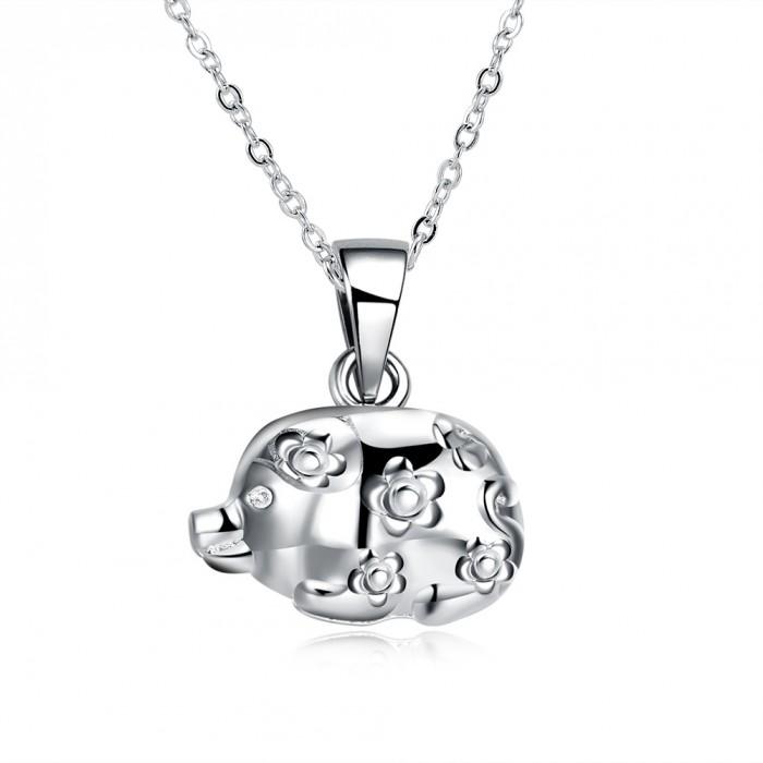 SN1125 Silver Jewelry Zodiac Pig Pendants Necklace Men Women