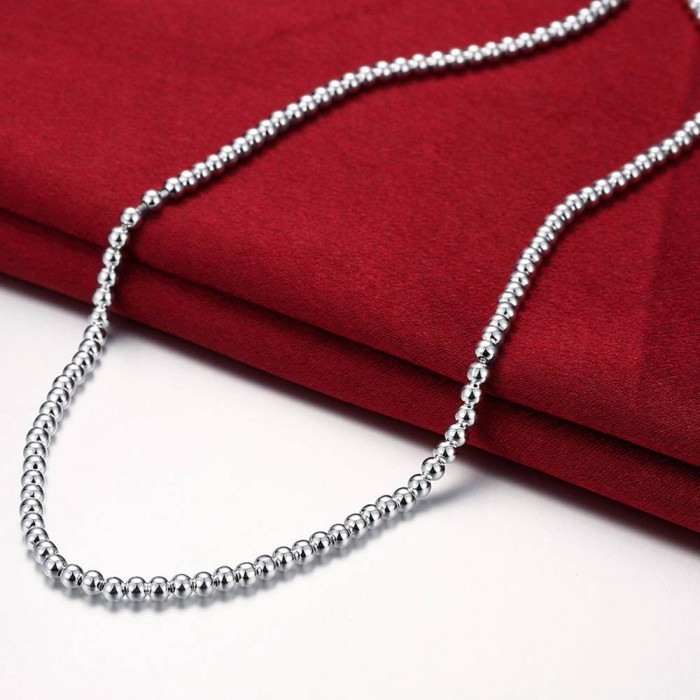 SN114 Fashion Silver Jewelry 4MM Beads Necklace For Women
