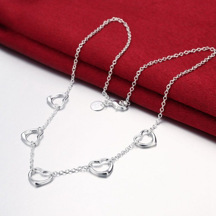 SN121 Fashion Silver Jewelry Chain Heart Necklace For Women