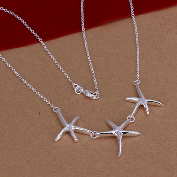 SN124 Hot Silver Jewelry Starfish Pendants Necklace For Women