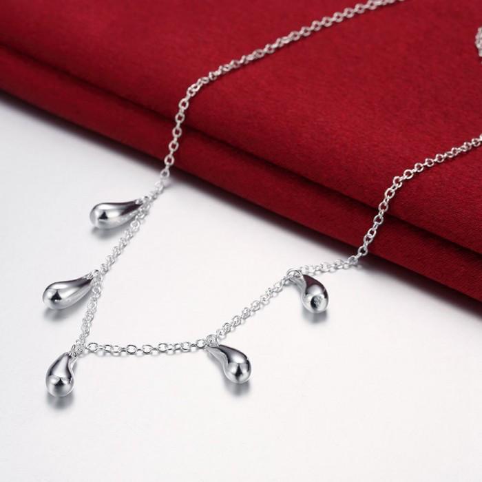 SN131 Fashion Silver Jewelry Chain Waterdrop Pendants Necklace