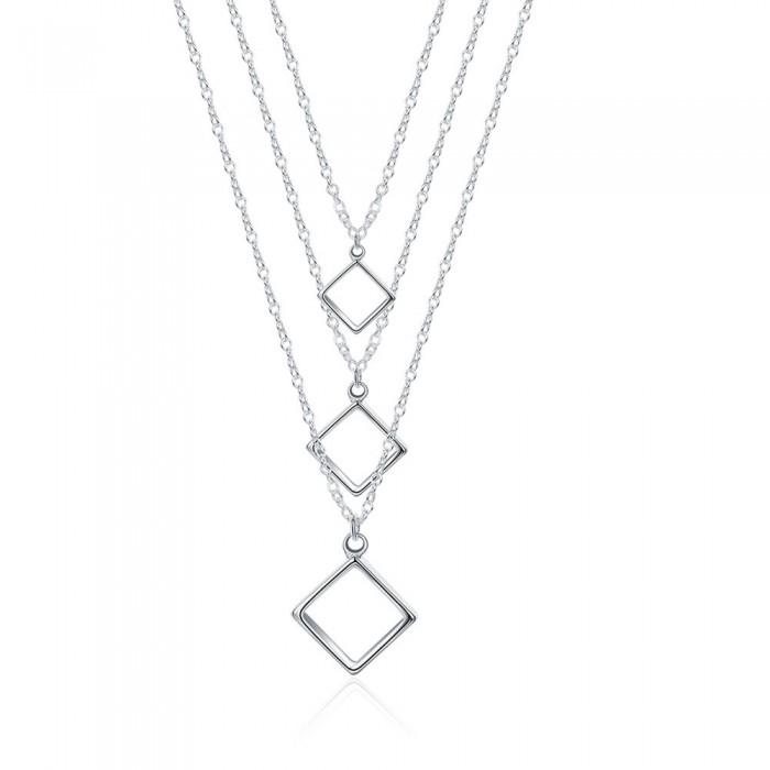 SN136 Fashion Silver Jewelry Chani Square Pendants Necklace