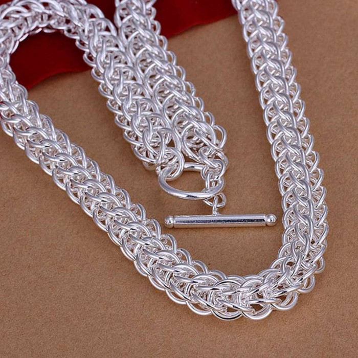 SN139 Fashion Silver Jewelry Circle Link Necklace For Men Women