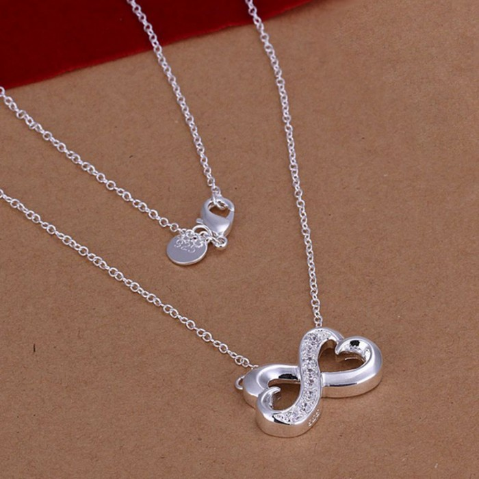 SN147 Silver Jewelry Chain Crystal Bowknot Pendants Necklace