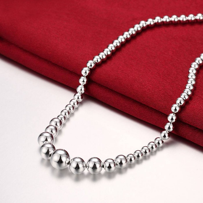 SN195 Fashion Silver Jewelry Beads Necklace For Women Men