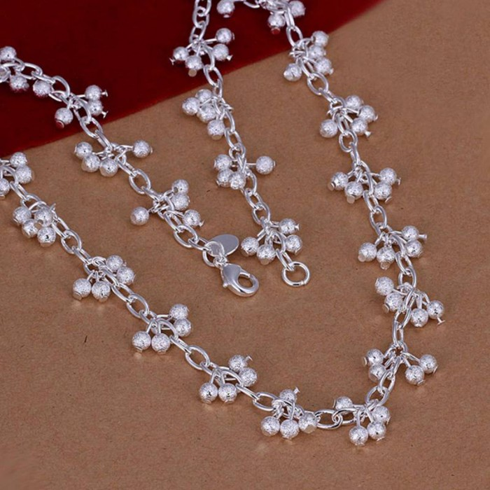 SN198 Fashion Silver Jewelry Frosted Grape Necklace For Women