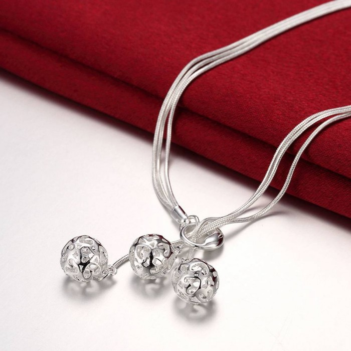 SN199 Fashion Silver Jewelry 3Chain Ball Necklace For Women