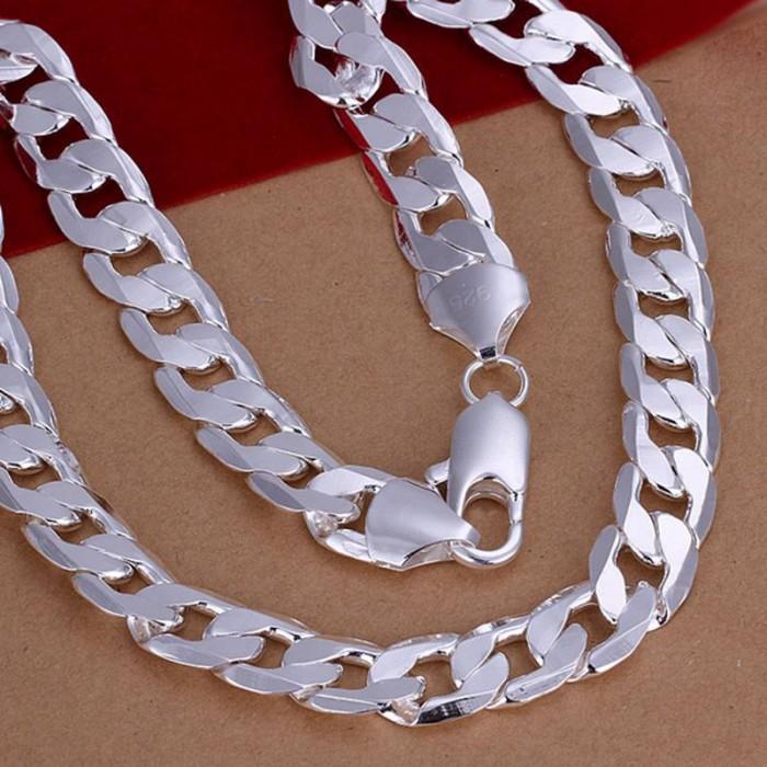 SN202 Hot Silver Men Women Jewelry 12MM Chain Necklace 20inch