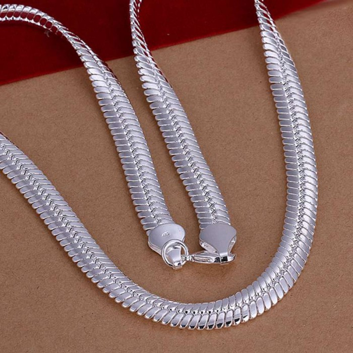SN209 Hot Silver Men Women Jewelry 12MM Chain Necklace 20inch