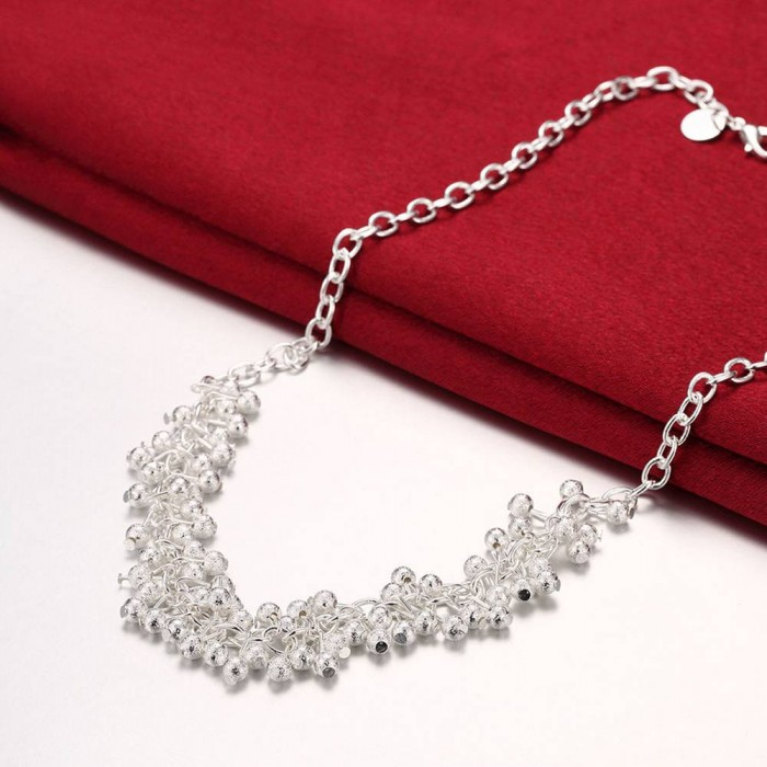 SN210 Fashion Silver Jewelry Frosted Grape Necklace For Women