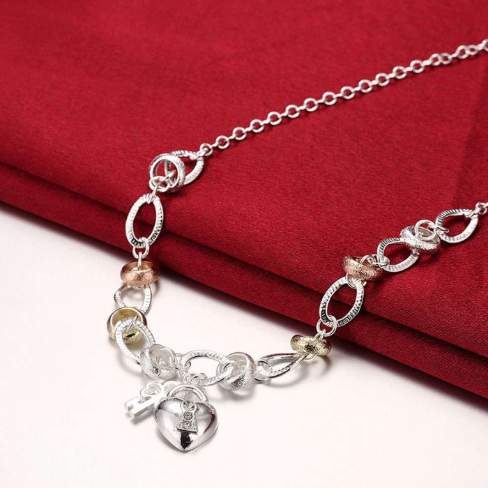 SN212 Hot Silver Jewelry Crystal Gold Heart Necklace For Women