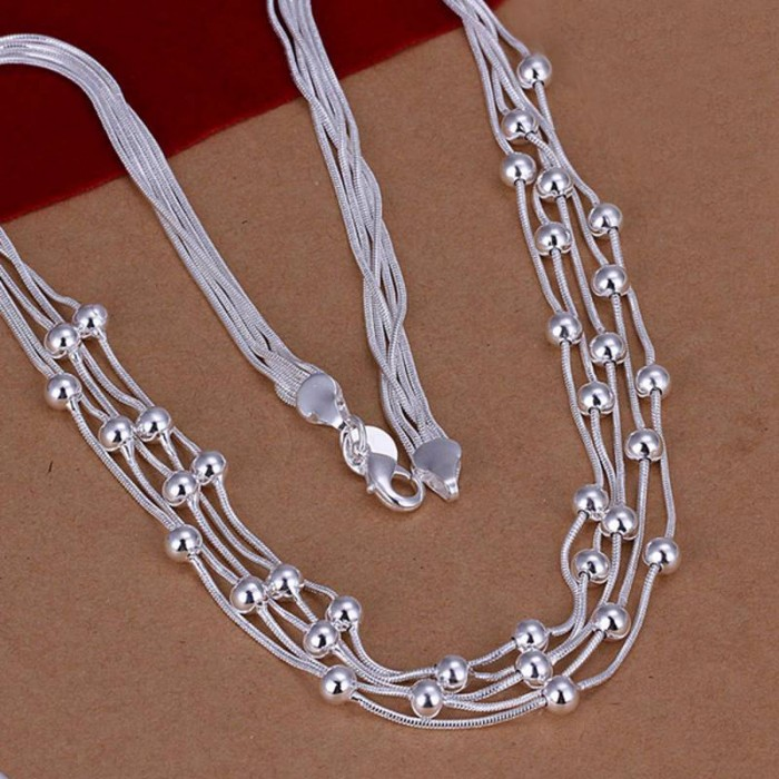 SN213 Fashion Silver Jewelry 5Chain Beads Necklace For Women