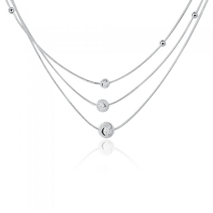 SN220 Fashion Silver Jewelry 3Chain Ball Necklace For Women