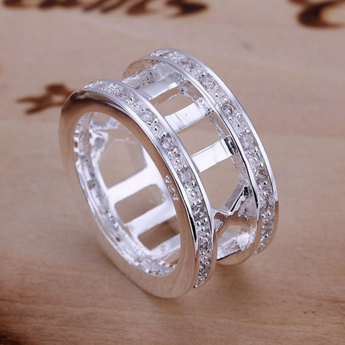 SR002 Fashion Silver Jewelry Crystal Roman Rings Men Women