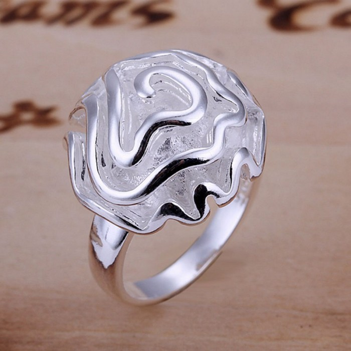 SR005 Fashion Silver Jewelry Rose Rings For Women