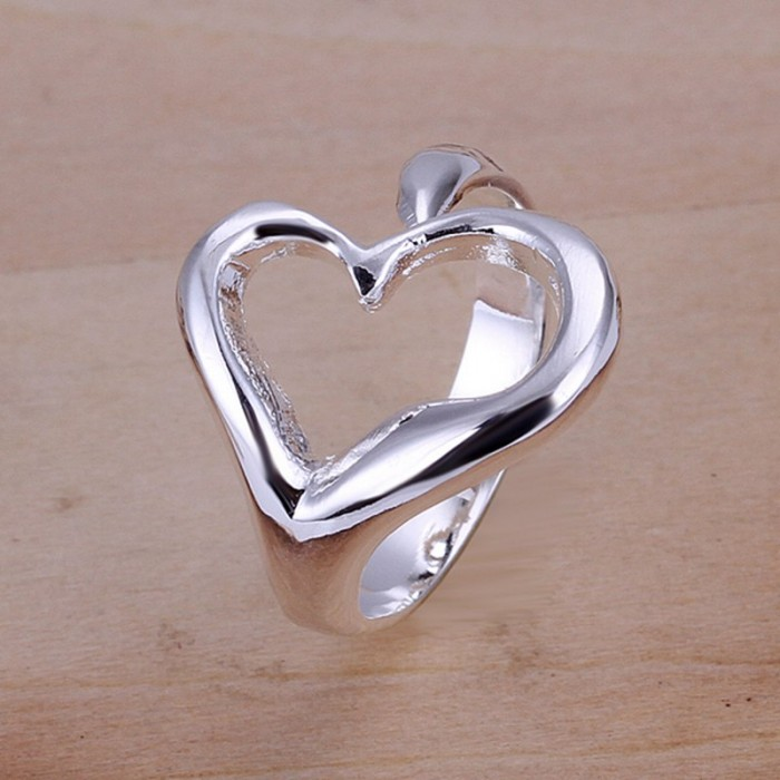 SR009 Fashion Silver Jewelry Heart Rings Men Women