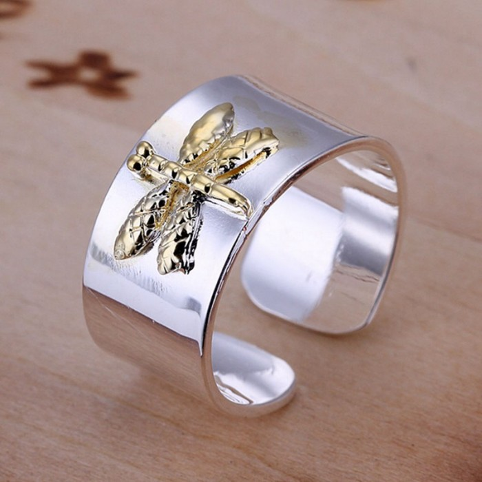 SR011 Fashion Silver Jewelry Gold Dragonfly Rings For Women
