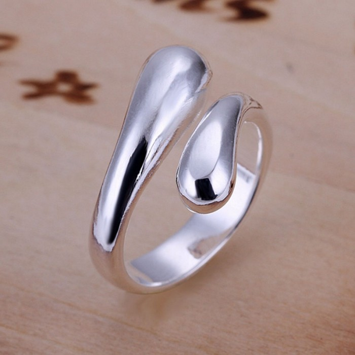 SR012 Fashion Silver Jewelry Waterdrop Rings Men Women