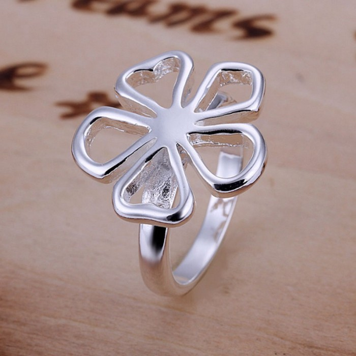 SR015 Fashion Silver Jewelry Flower Rings For Women