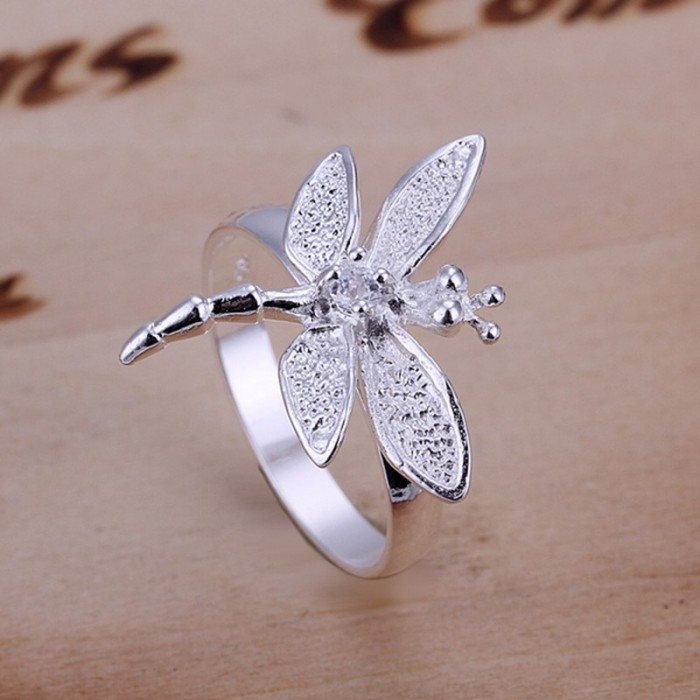 SR017 Fashion Silver Jewelry Crystal Dragonfly Rings For Women