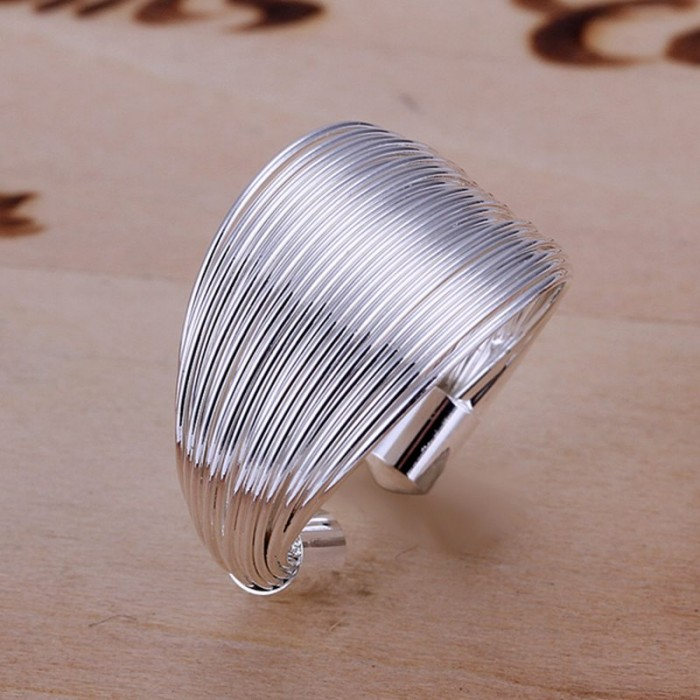 SR018 Fashion Silver Jewelry Lines Rings For Women