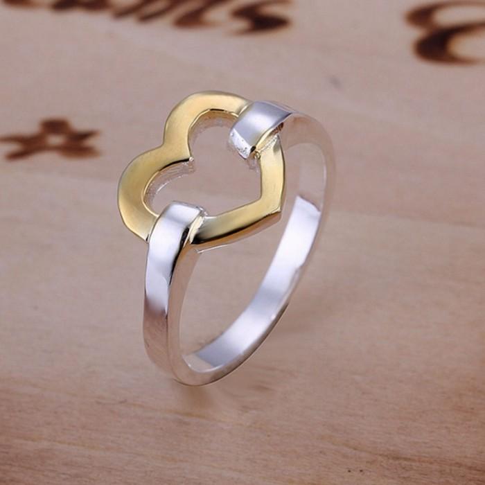 SR019 Fashion Silver Jewelry Gold Heart Rings Men Women