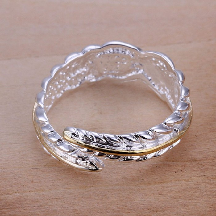 SR020 Fashion Silver Jewelry Gold Feather Rings For Women