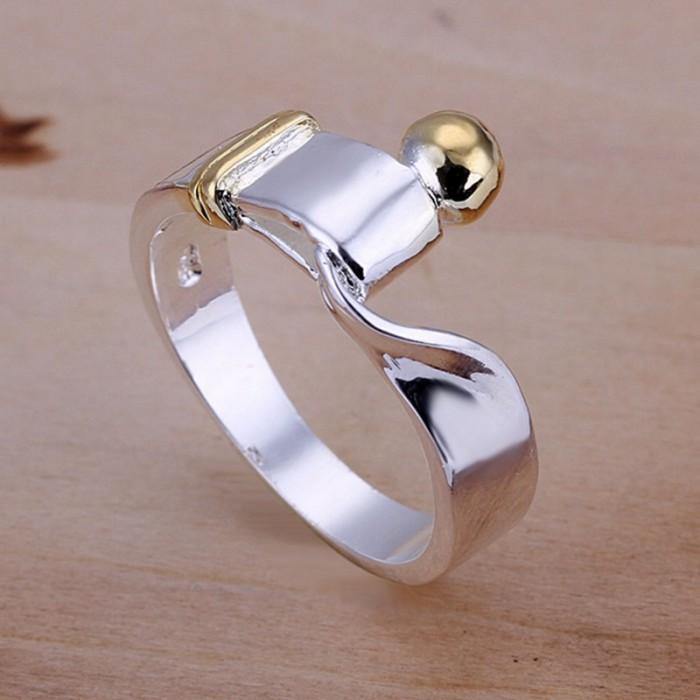 SR021 Fashion Silver Jewelry Gold Knot Rings Men Women