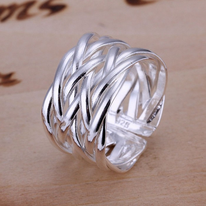 SR022 Fashion Silver Jewelry Weave Rings For Women