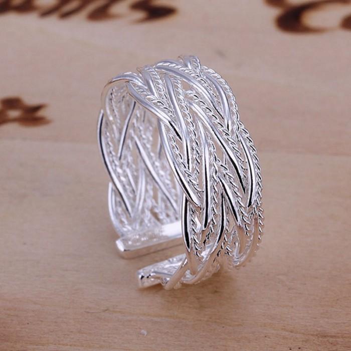 SR023 Fashion Silver Jewelry Weave Rings For Women