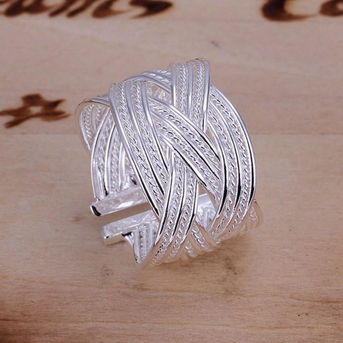 SR024 Fashion Silver Jewelry Weave Rings For Women