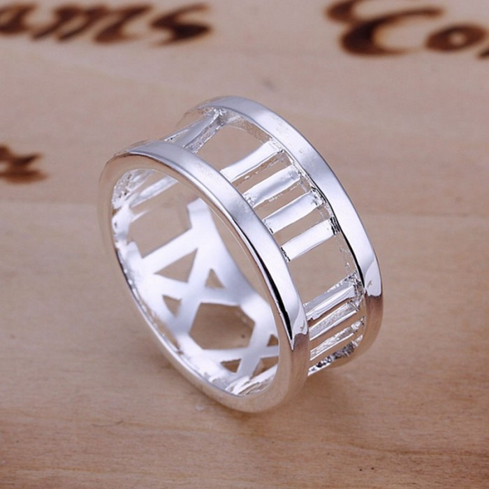SR026 Fashion Silver Jewelry Roman Rings Men Women
