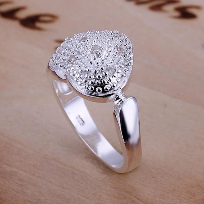 SR027 Fashion Silver Jewelry Crystal Heart Rings Men Women