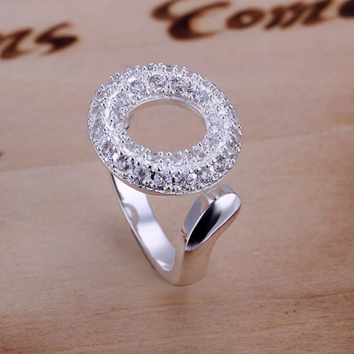 SR028 Fashion Silver Jewelry Crystal O Rings Men Women