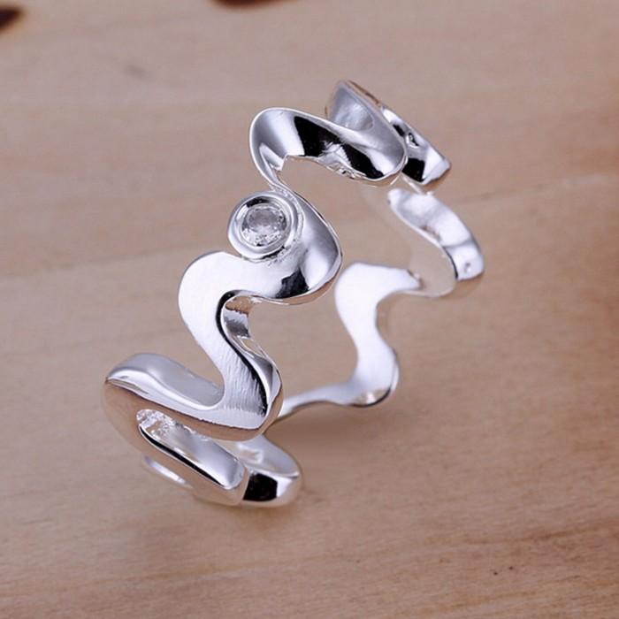 SR029 Fashion Silver Jewelry Crystal Snake Rings Men Women